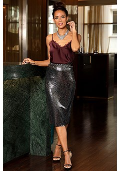 Sequin Midi Skirt product image (F05015BK_F08002SL_1)