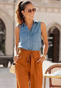 Denim Button Up Top, Paper Bag Waist Pants product image (F05017.DE.F09008.BNAP_I.1)