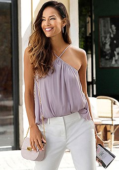Flowy Halter Neck Top, Structured Pants product image (F05022.LI_1)