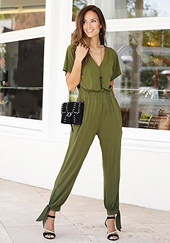 Short Sleeve V-Neck Jumpsuit product image (F06004_OL1.M)