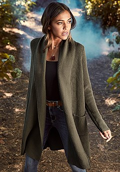 Cable Knit Long Cardigan product image (F07001.OL.1-S)