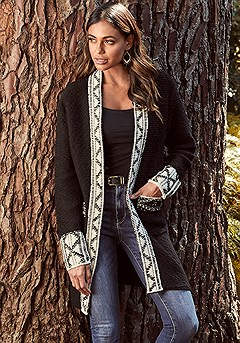 Contrast Trim Long Cardigan product image (F07002.1-S)