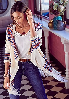 Striped Fringe Hem Cardigan product image (F07006.WHMU.1-S)
