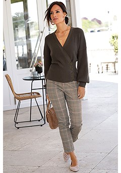 Button Detail Surplice Cardigan, Checkered Jeggings product image (F07008OL_1)
