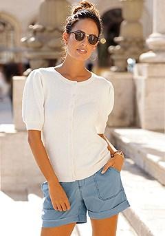 Patch Pocket Shorts, Puff Sleeve Cardigan product image (F07012.CR.F11002.BL_I)
