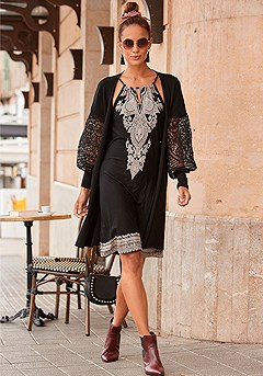 Lace Bishop Sleeve Cardigan product image (F07015BK_1)