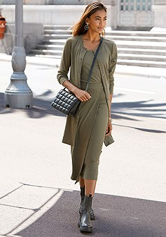Ribbed Button Down Sweater, Square Neck Ribbed Tank. Ribbed Knit Wrap Maxi Skirt