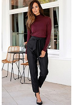 Mock Neck Ribbed Cuff Sweater, Tie Front Straight Leg Pants product image (F09005.K.BK)