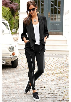 Drawstring Waistband Jacket, Piped Detail Leggings product image (F09006BK_F10002BK_1)
