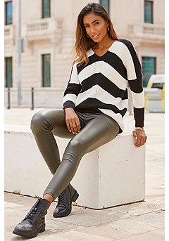 V-Neck Striped Sweater product image (F09007-KH.F03012BKCR)