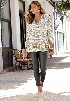 Tie Neck Print Blouse, Coated Skinny Jeggings product image (F09007KH_and_X34469GRPA_1)