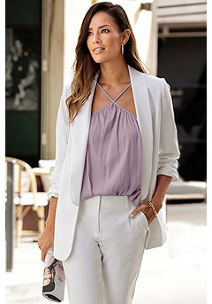 Oversized Blazer, Flowy Halter Neck Top, Structured Pants