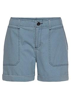Patch Pocket Shorts, Striped Peplum Blouse product image (F11002LB_1)