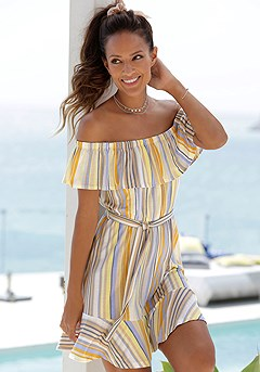 Striped Carmen Flounce Dress product image (RS_X29462YLMU)