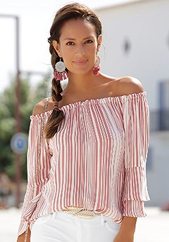 Printed Off Shoulder Top product image (RS_X34116MSTR)