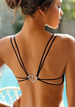 Strappy Heart Push Up Bra product image (X01048-BK-00)