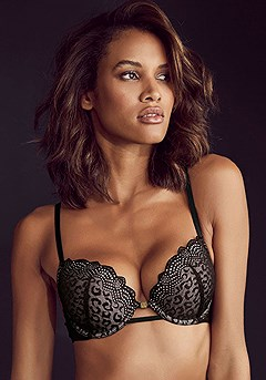 Leopard Lace Push Up Bra product image (X01109.BK)