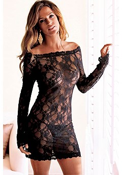 Long Sleeve Lace Negligee product image (X10005-BK_01)