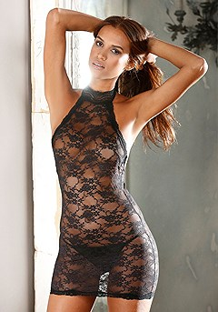 High Neck Lace Negligee product image (X10011.BK.FV.M)
