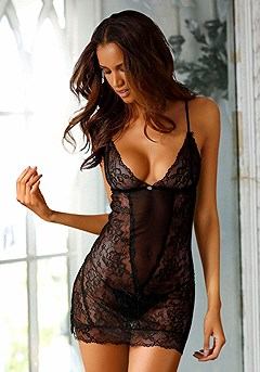 Lace Cut Out Negligee product image (X10019BK_00)