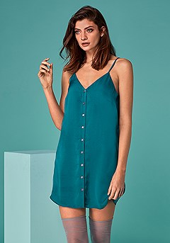 Button Up Negligee product image (X10026-TEAL-01-S)
