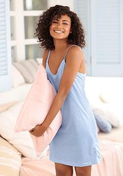 Striped V-Neck Negligee product image (X10063BLWH)