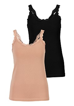 2 Pk Lace Trim Camisoles product image (X14001MU_2)