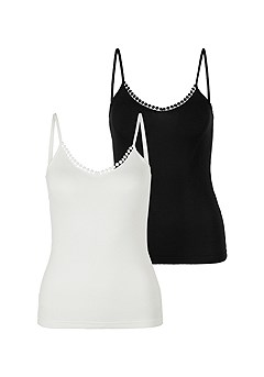 Ribbed Spaghetti Strap Camisole  Top product image (X14010BKWH)