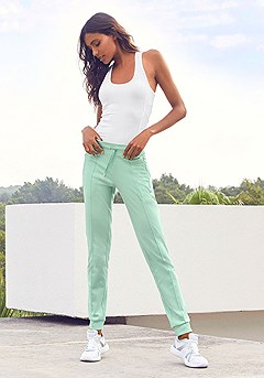 Racerback Top, Wide Waistband Joggers product image (X14011.WH.X56066.MINT.1.1)