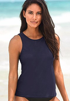 Basic Tankini Top, High Waisted Bikini Bottom product image (X15021NV_00)