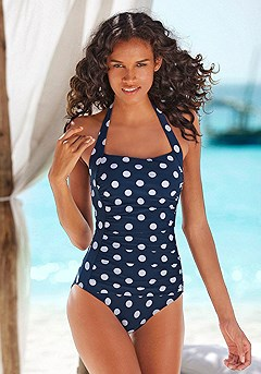 Gathered Polka Dot One-Piece product image (X15049-NWDT-00)