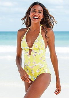 Floral Plunge One-Piece product image (X15065.YLMU.1-S)