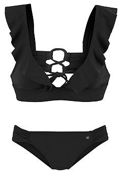 Ruffled Triangle Bikini Top, Classic Bikini Bottom product image (X16054-BK-X17065-BK-01)