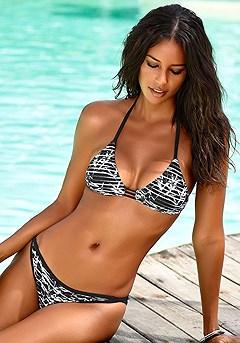 Print Triangle Bikini Top, Striped Mix Bikini Bottom product image (X16056-BKPR-X28114-BKPR-000S)