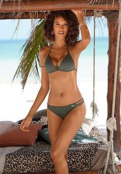 Strappy Triangle Bikini Top, Strappy Bikini Bottom product image (X16059_KH_M)