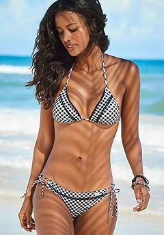 Gingham Triangle Bikini Top, Gingham Loop Bikini Bottom product image (X16176BDOT.X28358BDOT)