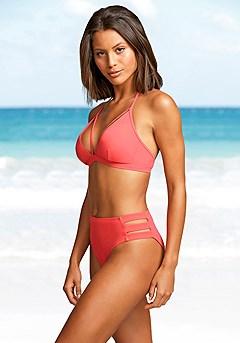 Strappy Triangle Bikini Top, Cut Out High Waisted Bikini Bottom