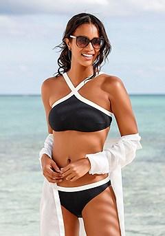 Cross Front Bustier Top, Bikini Bottom product image (X18007.BK.X19007.BK.00)