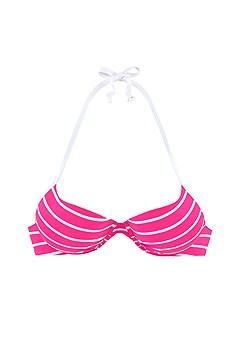 Striped Push Up Bikini Top, Strappy Stripe Bikini Bottom product image (X20108PKWH_X28335PKWH_2)