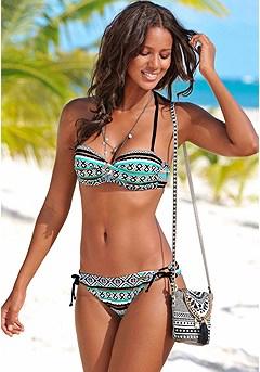 Underwire Bandeau Bikini Top, Loop Bikini Bottom product image (X22013-BKMN_X28022-BKMN_01)