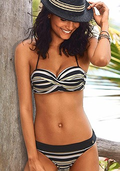 Striped Bandeau Bikini Top, Striped Bikini Bottom product image (X22034BKST_X28064BKST_00)