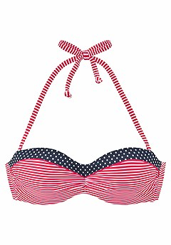Multi Print Bandeau Bikini Top, Print Classic Bikini Bottom