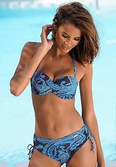 Paisley Bandeau Bikini Top, Pattern Mid Rise Bikini Bottom product image (X22144MUPR_X28348MUPR)