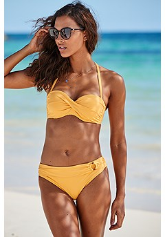 Ruched Underwire Bikini Top, Ruched Mid Rise Bikini Bottom product image (X22153YL_X28376YL_1)