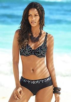 Underwire Printed Bikini Top, Print Waist Classic Bikini Bottom product image (X24022model_K)