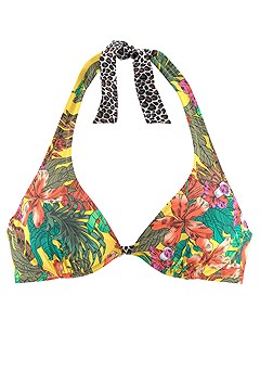 Tropical Underwire Bikini Top, Tropical Band Bikini Bottom