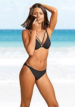 Strappy Underwire Bikini Top, Strappy Classic Bikini Bottom product image (X24174BK_X28367BK_1.P)