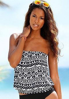 Loose Bandeau Tankini Top, Bikini Bottom product image (X26003-BKPR_X28002-BK_01)