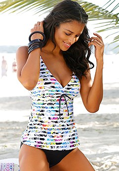 Stripe Underwire Tankini Top, Classic Bikini Bottom product image (X26008.BKPR.X27008.BK.00)