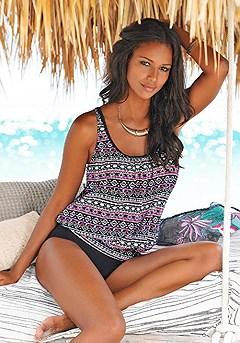 Oversized Tankini Top, Bikini Bottom product image (X26009-BKMU_X27009-BKMU_01)
